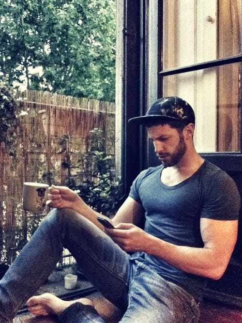 hot latin guy texting