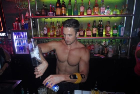 shirtless bartender