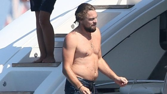 leonardo dicaprio shirtless dad bod