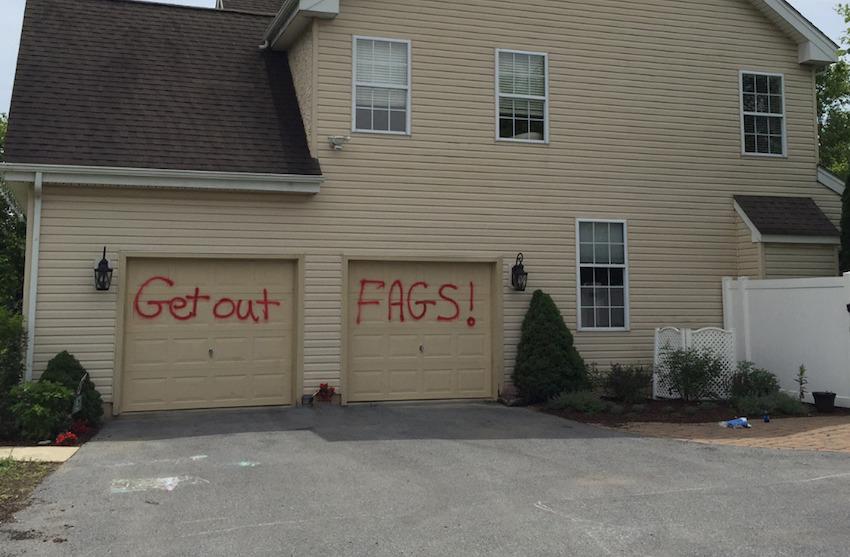Homophobic Graffiti Sprayed On Gay Couples Garage Men S