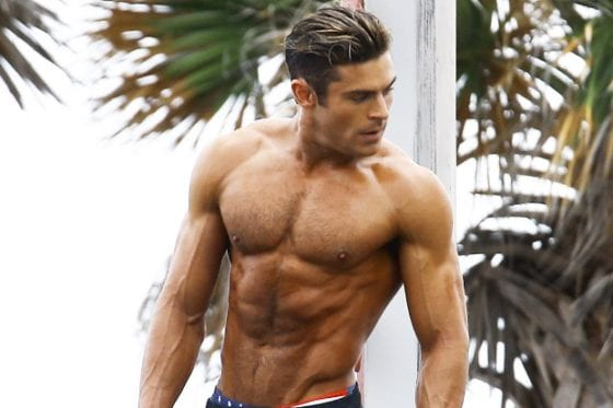 zac efron hairy chest muscles