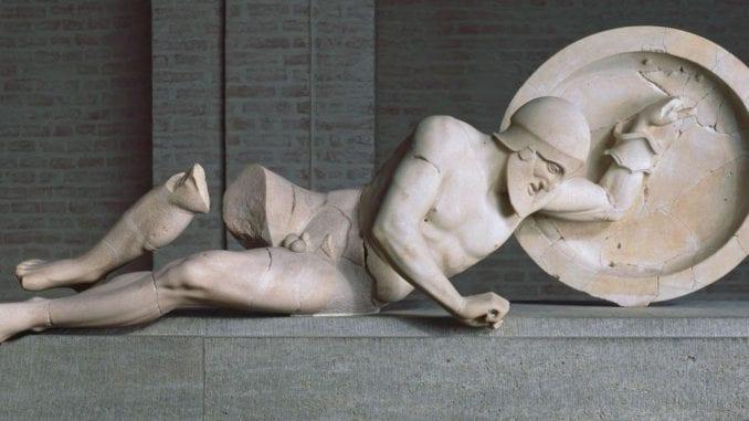 Sculpture of a fallen warrior