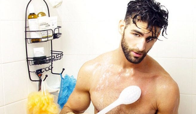 hot guy in shower contact lenses showering