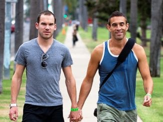 cute gay couple holding hands