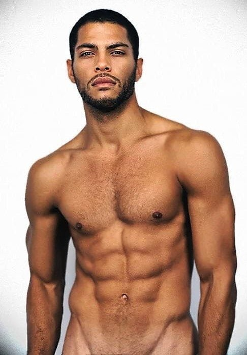 young athletic black man abs