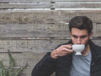 hot guy drinking coffee