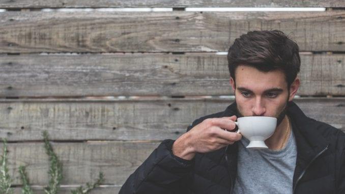 hot guy drinking coffee