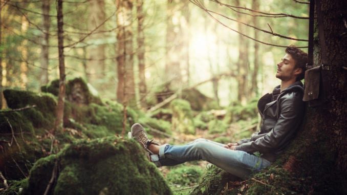 man outdoors woods reducing stress