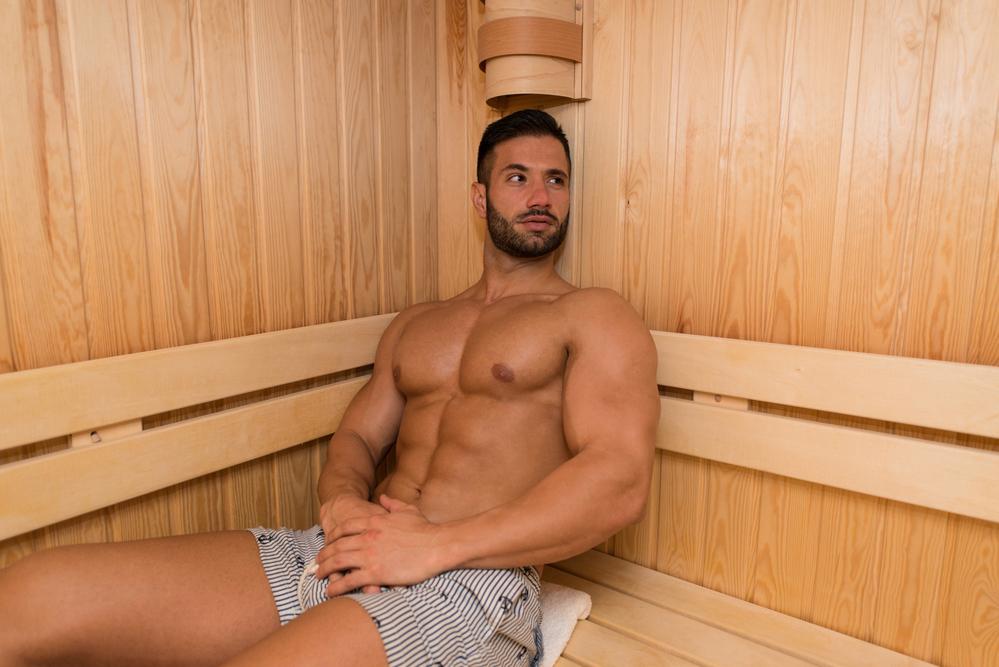 Jerking Off In Sauna