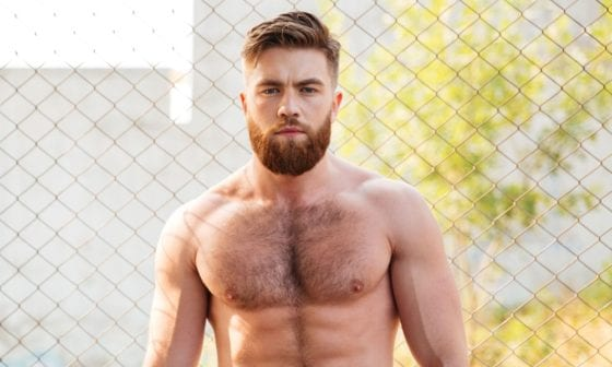 shirtless guy hairy chest muscles