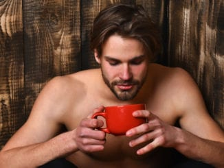hot guy drinking coffee, tea, cider