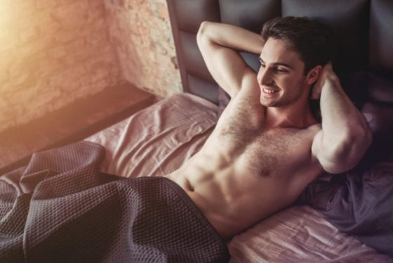 hot guy in bed abs
