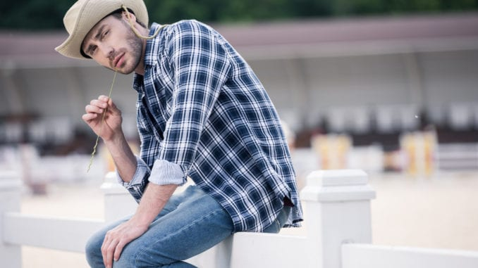outdoorsy bearded cowboy wearing cologne