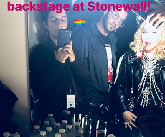 Madonna backstage at the iconic Stonewall Inn