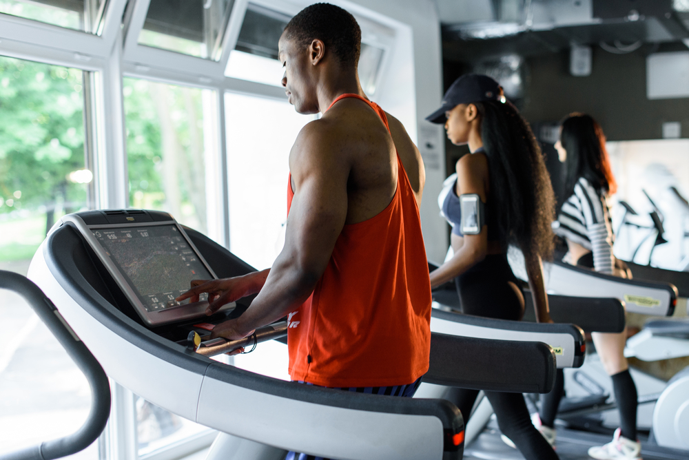 athletic black man treadmill