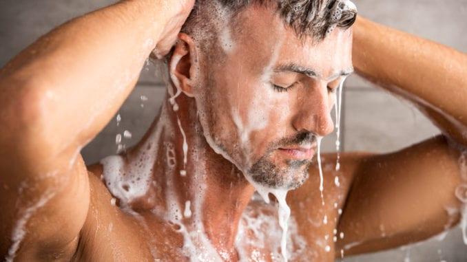 mens shower gel man in shower