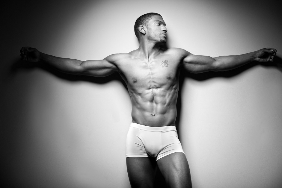 attractive african american muscle man
