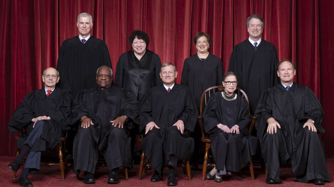 Photo of the current roster of U.S. Supreme Court Justices