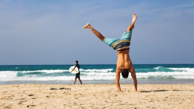 man cartwheels